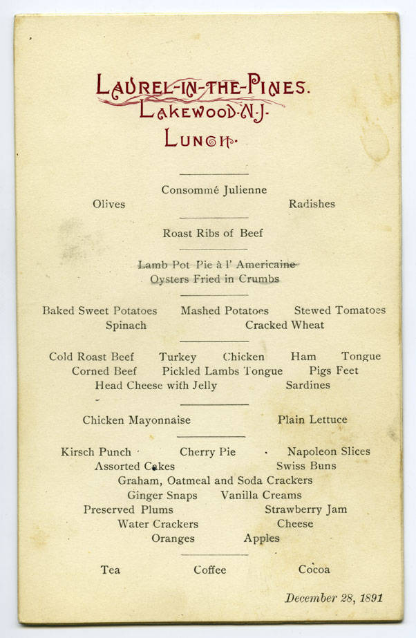 Laurel-in-the-Pines, lunch menu - CIA Menu Collection - CIA